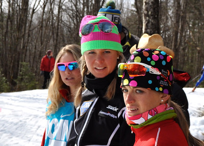 (l-r) Jessie Diggins, Sadie Bjornsen and Liz Stephen 2012 U.S. Cross Country Championships in Craftsbury, Vermont. Photo © Matt Whitcomb/U.S. Ski Team