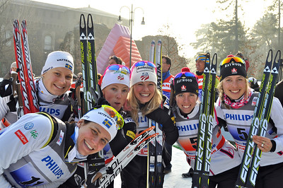 Kikkan Randall and Jessie Diggins 2011-12 Cross Country SeasonJessie Diggins and Kikkan Randall take 2nd place in team sprint.  Photo © Matt Whitcomb/U.S. Ski Team