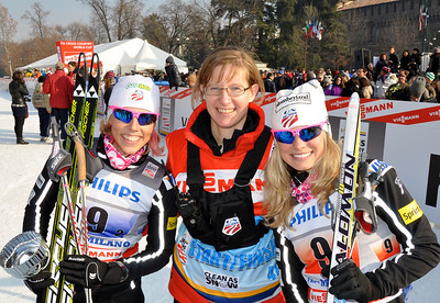 Jessie Diggins and Kikkan Randall take 2nd place in team sprint.  2012 FIS Cross Country World Cup in Milan, Italy Photo © Matt Whitcomb/U.S. Ski Team
