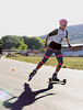 The U.S. Cross Country Ski Team athlete, Jessie Diggins, trains with roller skis on the Olympic trails at Soldier Hollow near Midway, Utah <br /> Photo: Pete Vordenberg/U.S. Ski Team