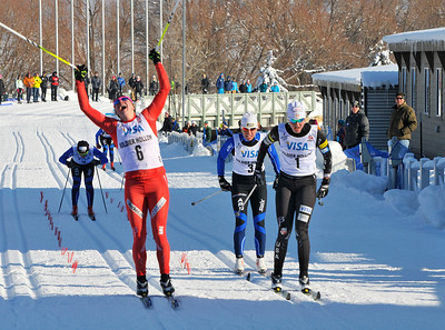 Jennie Bender shouts for joy as she edges out Sadie Bjornsen for gold in the classic sprints at U.S. Cross Country Ski Championships on the Olympic trails at Soldier Hollow, Utah. (USSA-Tom Kelly)