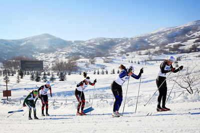 (l-r) Heidi Halvorsen, Sloan Storey, Parker Tyler, Rosie Brennan and Felicia Gesior Classic sprints at the 2013 U.S. Cross Country Ski Championships on the Olympic trails at Soldier Hollow, Utah.  Photo: Sarah Brunson/U.S. Ski Team