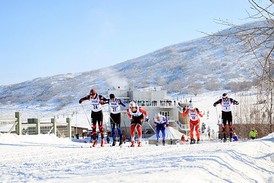 (l-r) Niklas Persson, Mark Iverson, Trygve Markset, Michael Sinnott, Eric Wolcott and Miles Havlick Classic sprints at the 2013 U.S. Cross Country Ski Championships on the Olympic trails at Soldier Hollow, Utah.  Photo: Sarah Brunson/U.S. Ski Team