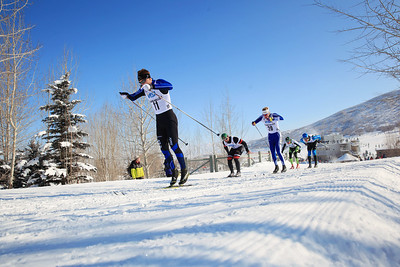 (l-r) Reese Hanneman, Von J E Blackhorse, Logan Hanneman, Timothy Reynolds and Benjamin Saxton Classic sprints at the 2013 U.S. Cross Country Ski Championships on the Olympic trails at Soldier Hollow, Utah.  Photo: Sarah Brunson/U.S. Ski Team