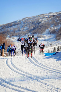 Skyler Davis leading the pack in the semi-finals Classic sprints at the 2013 U.S. Cross Country Ski Championships on the Olympic trails at Soldier Hollow, Utah.  Photo: Sarah Brunson/U.S. Ski Team