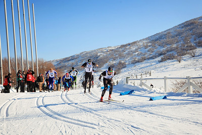 Skyler Davis leading the pack during the semi-finals Classic sprints at the 2013 U.S. Cross Country Ski Championships on the Olympic trails at Soldier Hollow, Utah.  Photo: Sarah Brunson/U.S. Ski Team