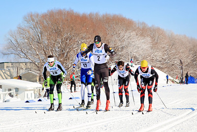 (l-r) Gordon Vermeer, Sylvan Ellefson, Skyler Davis, Noe Bellet and Tucker McCrerey Classic sprints at the 2013 U.S. Cross Country Ski Championships on the Olympic trails at Soldier Hollow, Utah.  Photo: Sarah Brunson/U.S. Ski Team