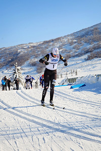 Sadie Bjornsen leads the pack in the semi-finals Classic sprints at the 2013 U.S. Cross Country Ski Championships on the Olympic trails at Soldier Hollow, Utah.  Photo: Sarah Brunson/U.S. Ski Team