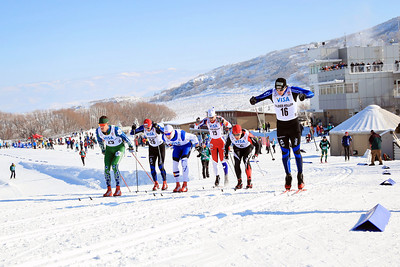 (l-r) Alex Schultz, Peter Kling, Ryan Scott, Eric Packer, Samuel Naney and Brenton Knight Classic sprints at the 2013 U.S. Cross Country Ski Championships on the Olympic trails at Soldier Hollow, Utah.  Photo: Sarah Brunson/U.S. Ski Team