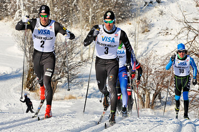 Skyler Davis (left) and Torin Koos are stride for stride in the men's finals classic sprint at U.S. Cross Country Ski Championships on the Olympic trails at Soldier Hollow, Utah. Koos went on to take gold. (USSA-Tom Kelly)