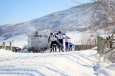 (l-r) Morgan Cole, Reese Hanneman and Logan Hanneman Classic sprints at the 2013 U.S. Cross Country Ski Championships on the Olympic trails at Soldier Hollow, Utah.  Photo: Sarah Brunson/U.S. Ski Team