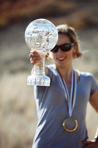 Kikkan Randall with her World Cup sprint champion crystal globe Photo: USSA