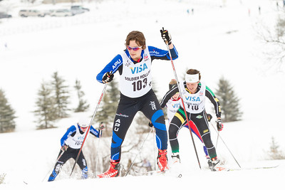 Kate Fitzgerlad (103), Marine Dusser (110) 2014 U.S. Cross Country Championships Women's 20K Free Mass Start Photo: Sarah Brunson/U.S. Ski Team