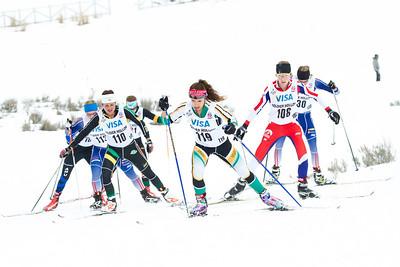Rose Kemp (113), Marine Dusser (110), Rosie Frankowski (119), Erika Flowers (108) and Mary Rose (130) 2014 U.S. Cross Country Championships Women's 20K Free Mass Start Photo: Sarah Brunson/U.S. Ski Team