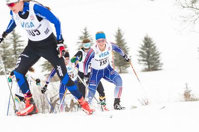 Rebecca Rorabaugh (105) leading Elizabeth Guiney (115) Linda Danvind-Malm (121) and Mary Rose (130) 2014 U.S. Cross Country Championships Women's 20K Free Mass Start Photo: Sarah Brunson/U.S. Ski Team