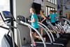 Jessie Diggins, Liz Stephen, Ida Sargent, Caitlin Gregg<br /> 2015 U.S. Cross Country Ski Team Summer Camp<br /> Strength training at the Center of Excellence<br /> Photo: USSA