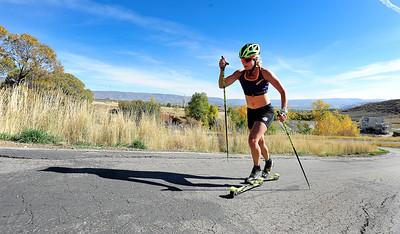 Jessie Diggins Roller Ski Training At Soldier Hollow