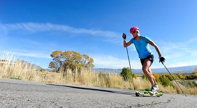 Sadie Bjornsen Roller Ski Training At Soldier Hollow