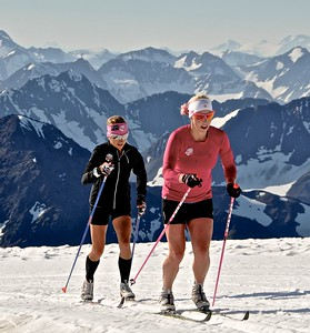 Kikkan Randall and Liz Stephen 2016 U.S. Cross Country Ski Team Alaska Camp Photo: Matt Whitcomb/U.S. Ski Team