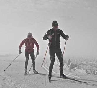 Simi Hamilton and Sophie Caldwell 2016 U.S. Cross Country Ski Team Alaska Camp Photo: Matt Whitcomb/U.S. Ski Team