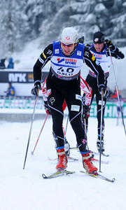 American Lars Flora charges during the men's 30k pursuit race at the 2011 FIS Nordic World Ski Championships at Holmenkollen in Oslo, Norway. (c) 2011 U.S. Ski Team