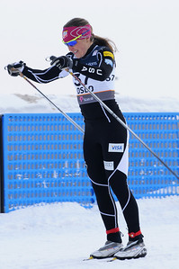 Holly Brooks leads the USA in the women's 10k classic at 2011 Nordic World Ski Championships at Holmenkollen in Oslo, Norway, (c) 2011 U.S. Ski Team
