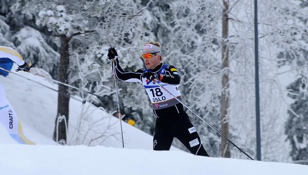 Kris Freeman skates uphill in the men's 30k pursuit race at the 2011 FIS Nordic World Ski Championships at Holmenkollen in Oslo, Norway. (c) 2011 U.S. Ski Team