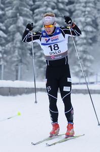 Kris Freeman double poles in the men's 30k pursuit race at the 2011 FIS Nordic World Ski Championships at Holmenkollen in Oslo, Norway. (c) 2011 U.S. Ski Team