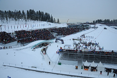 Over 20,000 fans pack the stadium for the free technique sprint at the 2011 FIS Nordic Ski World Championships at Holmenkollen in Oslo. (c) 2011 U.S. Ski Team