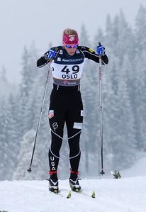 Kikkan Randall double poles in the women's 10k classic at 2011 Nordic World Ski Championships at Holmenkollen in Oslo, Norway, (c) 2011 U.S. Ski Team