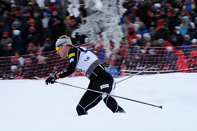 Kris Freeman skates by the crowd in the men's 30k pursuit race at the 2011 FIS Nordic World Ski Championships at Holmenkollen in Oslo, Norway. (c) 2011 U.S. Ski Team
