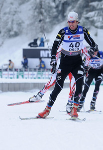 Lars Flora attacks during the men's 30k pursuit race at the 2011 FIS Nordic World Ski Championships at Holmenkollen in Oslo, Norway. (c) 2011 U.S. Ski Team