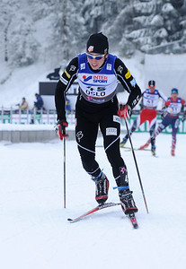 Noah Hoffman attacks during the men's 30k pursuit race at the 2011 FIS Nordic World Ski Championships at Holmenkollen in Oslo, Norway. (c) 2011 U.S. Ski Team