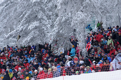 Tens of thousands of fans lined the trails for the men's 30k pursuit race at the 2011 FIS Nordic World Ski Championships at Holmenkollen in Oslo, Norway. (c) 2011 U.S. Ski Team