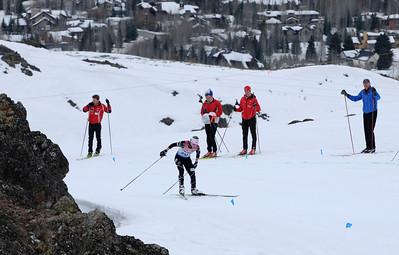 Kikkan Randall skis up a steep hill en route to victory as top cross country skiers tackle the challenging Dollar Mountain Hillclimb to wrapup the SuperTour Finals in Sun Valley, ID. (c) 2011 USSA
