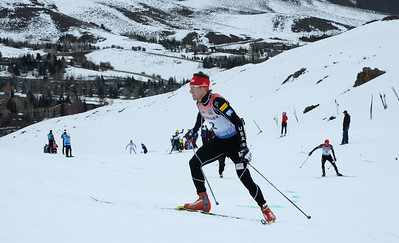 Simi Hamilton skates uphill as top cross country skiers tackle the challenging Dollar Mountain Hillclimb to wrapup the SuperTour Finals in Sun Valley, ID. (c) 2011 USSA