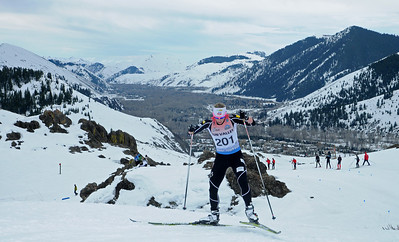 Kikkan Randall nears the top of the climb as top cross country skiers tackle the challenging Dollar Mountain Hillclimb to wrapup the SuperTour Finals in Sun Valley, ID. (c) 2011 USSA