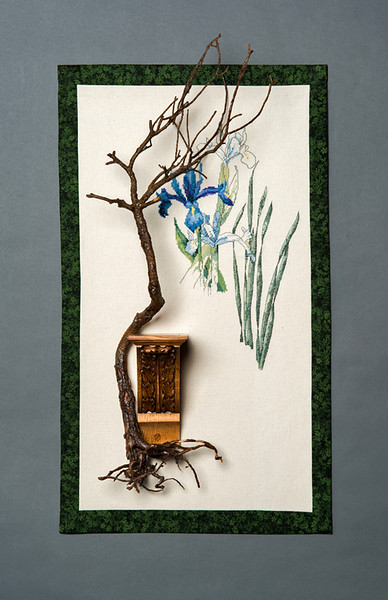 Bonsai with Blue Iris
