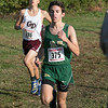 The boys and girls Mid Wach League Cross Country Championships where held at Hollis Hill Farm in Fitchburg Saturday, Oct. 26, 2019. Nashoba Regional High School's #375 Cole Clericuzio. Just behind him is Groton Dunstable Regional High School's #286 Declan Lowney. SENTINEL & ENTERPRISE/JOHN LOVE