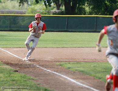 Chico High's Ty Brogden touches down at 3rd during a baseball game between Pleasant Valley and Chico High School Tuesday April 12, 2016 at Hooker Oak Park in Chico, Calif. (Emily Bertolino -- Enterprise-Record)