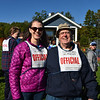 Emily Grossman Reilly, Thetford Academy '94, winner of 1st and 3rd Woods Trail Runs and 1993 New England XC Champion and her coach Larry Drew.