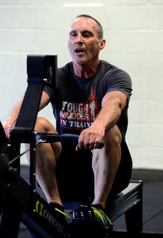 . Todd Roadman, works on the rowing machine during class at CrossFit Lefthand in Boulder on Tuesday. For more photos go to dailycamera.com. Paul Aiken / Staff Photographer July 3, 2018