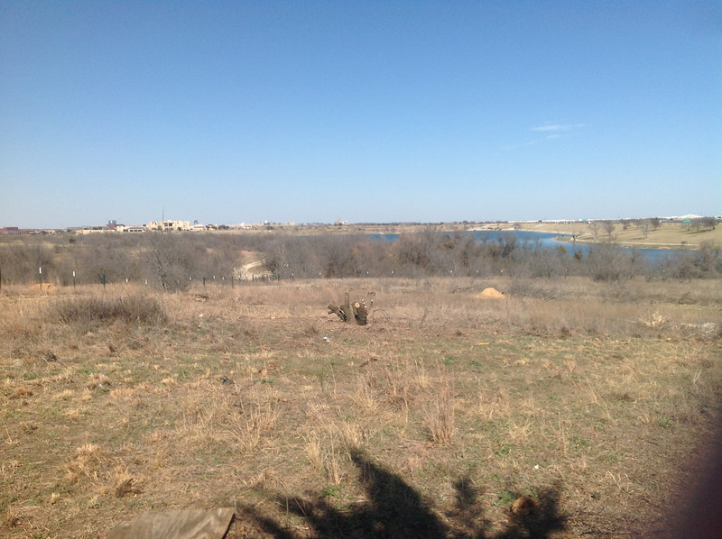 In the distance, looking east we see Tarrant County College and Marine Creek Lake. Our Easter Sunrise service will be from this spot. March 10, 2014