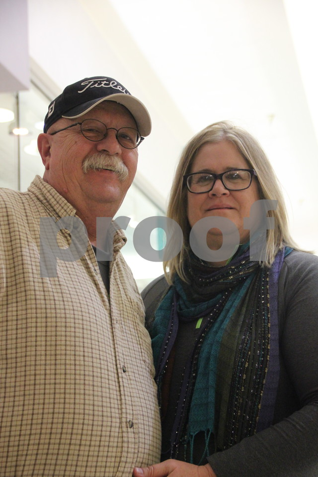 Saturday, December 12, 2015 found shoppers at Crossroads Mall in Fort Dodge shopping for Christmas gifts. Pictured here(left to right) is: Bruce Addison, and Cathy Wiese. Only two weeks and six days left before Christmas.