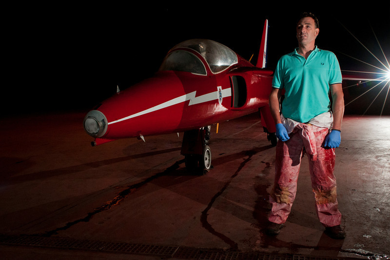 Alan Moreton with Red Arrow Gnat XR540 - Spraytech - Cirencester, Gloucestershire - www.spraytech-of-cirencester.co.uk
