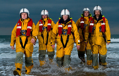 "Portrait - RNLI Crew - Ramsey, Isle of Man - ANdy Walton, Darren Corkill, Wayne Hargrave, Gwil Hooson-Owen, Steve Oates. Image awarded a ribbon in the Royal Photographic Society Western Area Print Exhibition 2012. Image titled ""Saving Lives At Sea"""