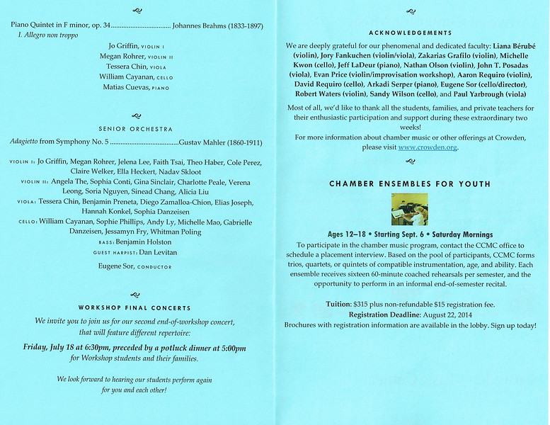 Student Concert #1 2014 - TCS