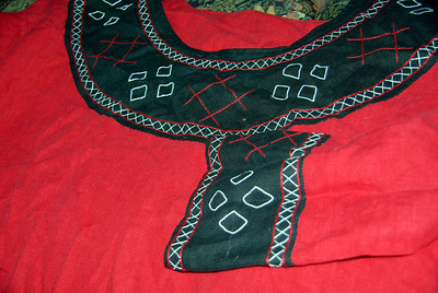 close up of the embroidery on the tunic the Laurels made for Caillin