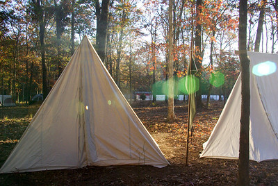 Period tents in the morning light