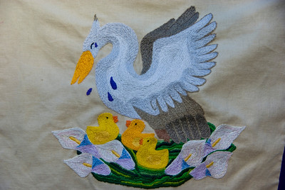 Morgana's Pelican embroidery by Ancara
